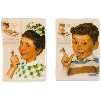 Vintage Kellogg's® Kids Porcelain Magnet Set of 2