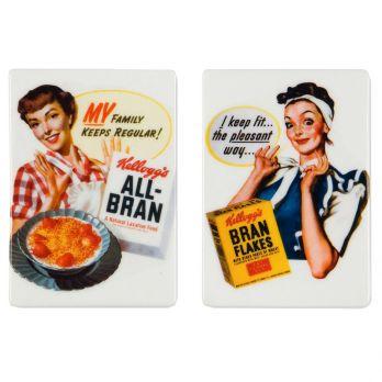 Vintage Kellogg's® Ladies Porcelain Magnet Set of 2