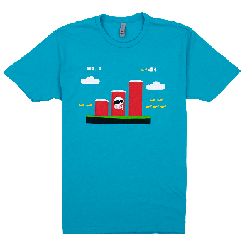 Heather blue adult tee front view with Pringles cans as Super Mario tunnels graphic