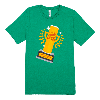 """Heather green adult tee front view with """"most valuable potato"""" Pringles can shaped trophy on the center chest"""