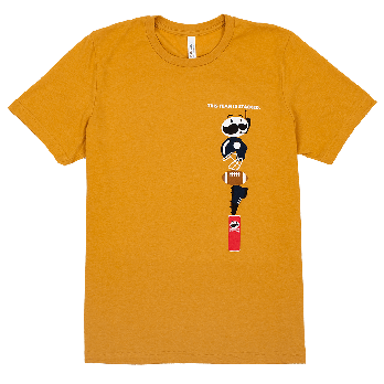 """Orange adult tee front view with """"this team is stacked"""" white text on left chest with Mr. P logo and sport icons"""