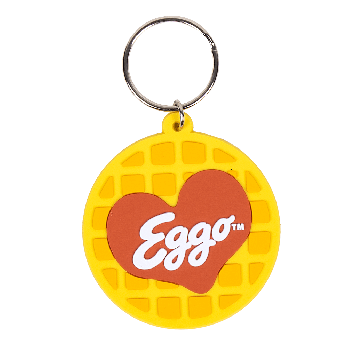 PVC keychain shaped like an Eggo Waffle with the logo in the shape of a heart.